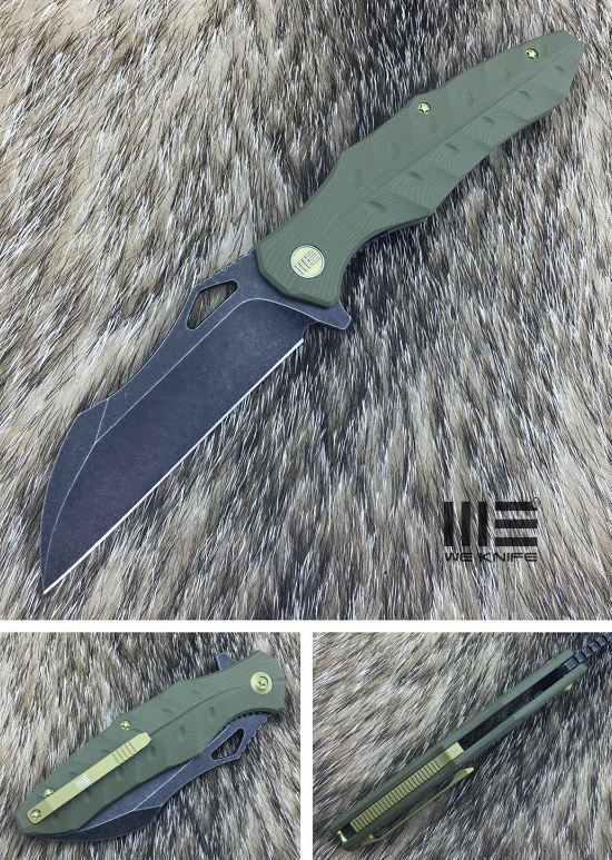 We Knife 701A D2 Wharncliffe Black Stonewash - Green G10
