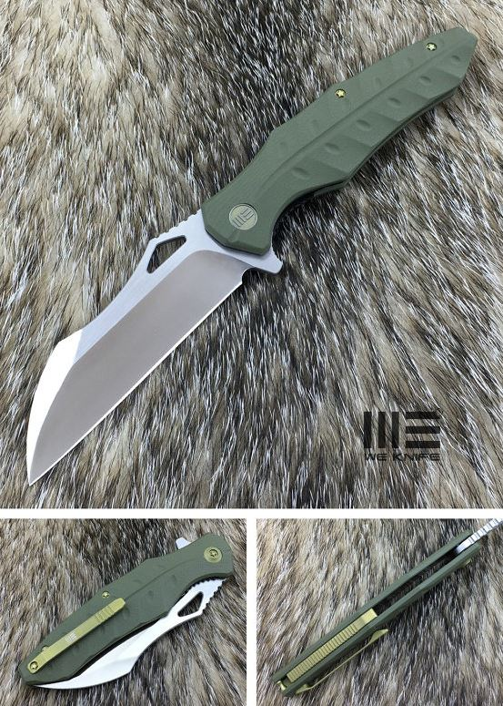 We Knife 701B D2 Wharncliffe Satin - Green G10