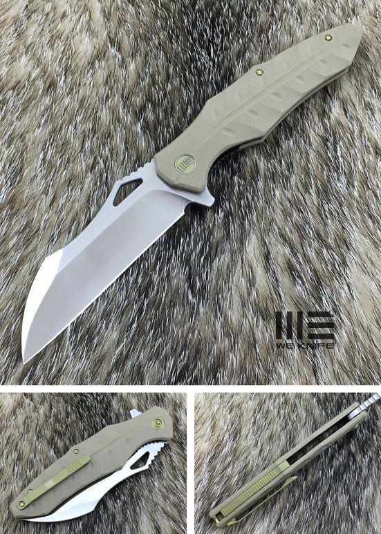We Knife 701D D2 Wharncliffe Satin - Tan G10
