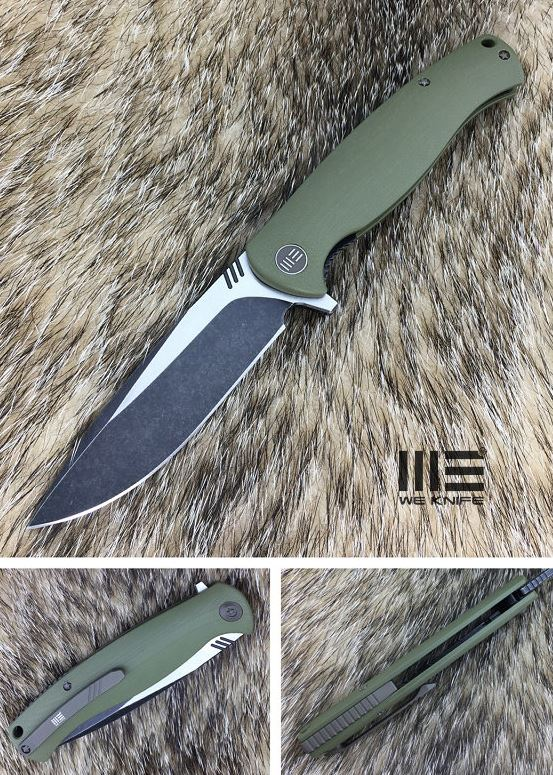 We Knife 703A D2 Flipper Satin Black - Green G10