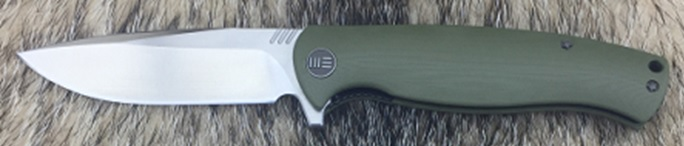 We Knife 703D Satin D2 Flipper - Green G10