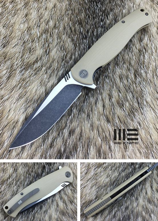 We Knife 703C D2 Flipper Satin Black - Tan G10