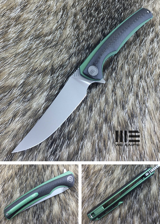 We Knife 704CFC Flipper M390 Liner Titanium Green & Carbon Fiber (Online Only)