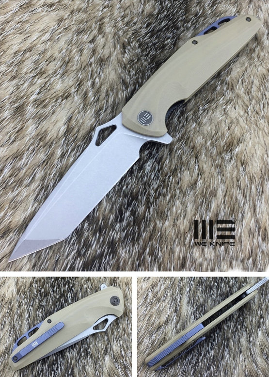 WE Knife 706D SW Tanto D2 Flipper- Tan G10