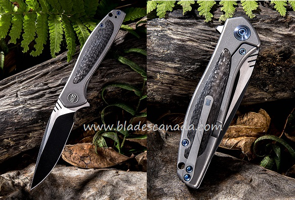 WE Knife 805E Wisp S35VN Black, Carbon Fiber & Grey Titanium