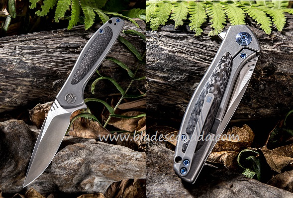 WE Knife 805F Wisp S35VN Satin, Carbon Fiber & Grey Titanium