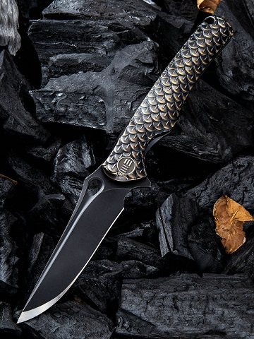 WE Knife 819B Drakon M390 Black Blade,Titanium Framelock- Bronze