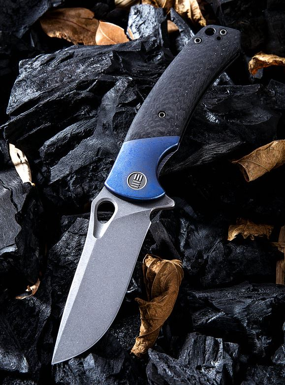 WE Knife 903B Bishop M390 Carbon Fiber & Blue Titanium