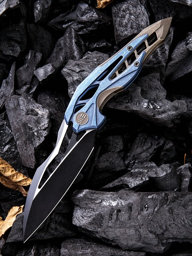 WE Knife 906B Arrakis Isham Black M390 Blue and Bronze Titanium