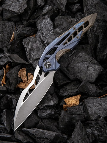 WE Knife 906E Arrakis Isham M390 Blue and Brown Titanium (Online Only)
