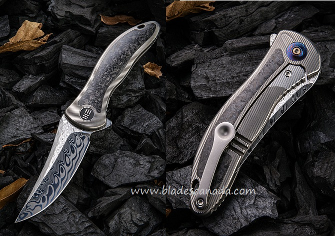 WE Knife 912CF-DS1 Synergy2 Damasteel Carbon Fiber- Trailing Point (Online Only)