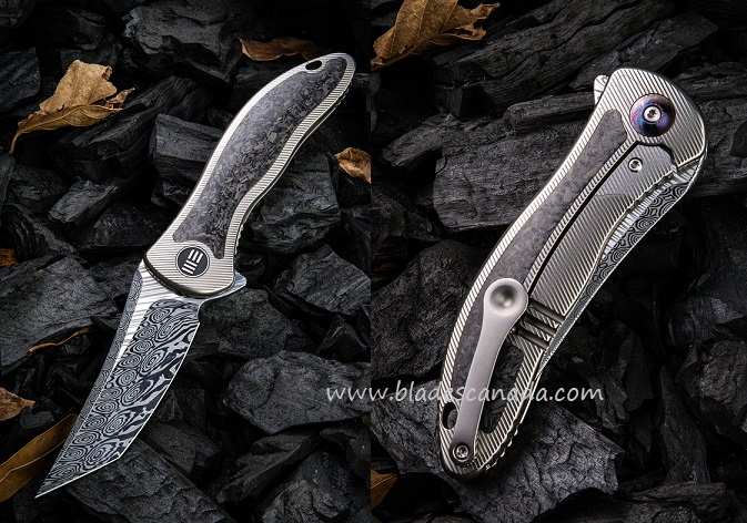 WE Knife 912CF-DS2 Synergy2 Damasteel Carbon Fiber- Tanto (Online Only)