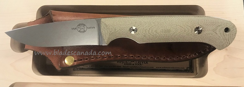 White River Hunter S35VN Blade OD Micarta, Leather Sheath
