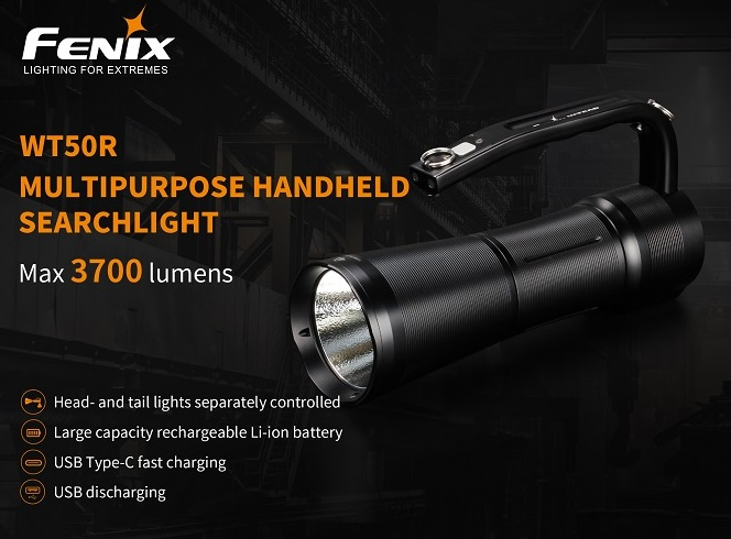 Fenix WT50R Rechargeable Searchlight- 3700 Lumens