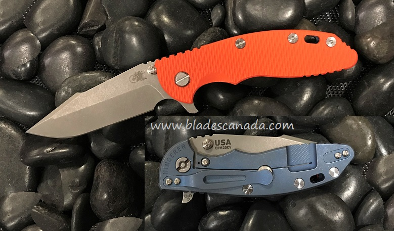 Hinderer XM-18 3.5 Gen 6 Harpoon Spanto WF - Battle Blue/ Orange G10