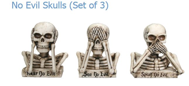 YTC Summit No Evil Skulls (Set of 3) YTC7593