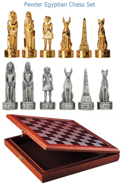 YTC Summit 8045 Pewter Egyptian Chess Set w/Board (Online Only)