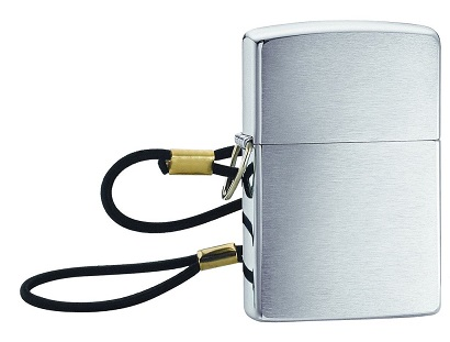 Zippo 10100 Lossproof, Brush Chrome with Lanyard