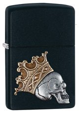 Zippo 29100 Skull with a Crown - Matte Black