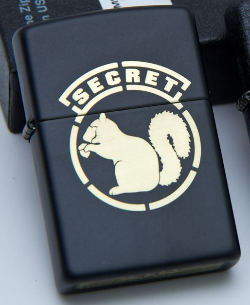 Zippo Mil-Spec Monkey - Secret Squirrel, Black Matte